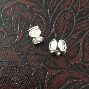 2 Pandora white Cz oval light charms
